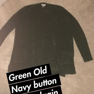 Forest Green Button Up Old Navy Cardigan